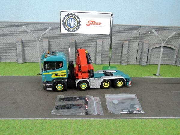 65157A - Tekno - Scania R-serie Lowline 4achs Zugmaschine mit HIAB Kran - Wellauer -
