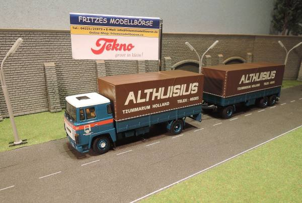 64019 - Tekno - Scania 141 6x2 mit 3achs Planen-Hängerzug - Althuisius - NL -