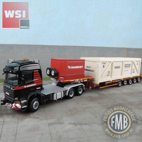 410212 - WSI - Scania R6 HL 6x6 mit 5achs Semi-Tieflader und Holzkiste - Mammoet - RUS