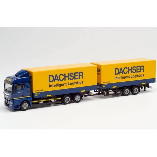 "941846 - Herpa - MAN TGX XLX Tandem-Wechselkoffer-Hängerzug ""Dachser"""