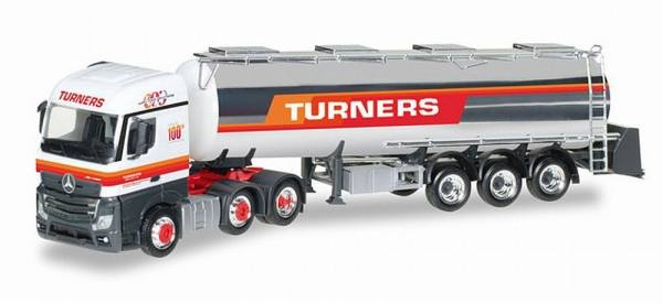 "306720 - Herpa - Mercedes-Benz Actros StreamSpace 6x2 Chromtank-Sattelzug ""Turners"" GB"