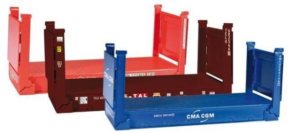 076579 - Herpa - 20ft. Flatcontainer, 3 Stück