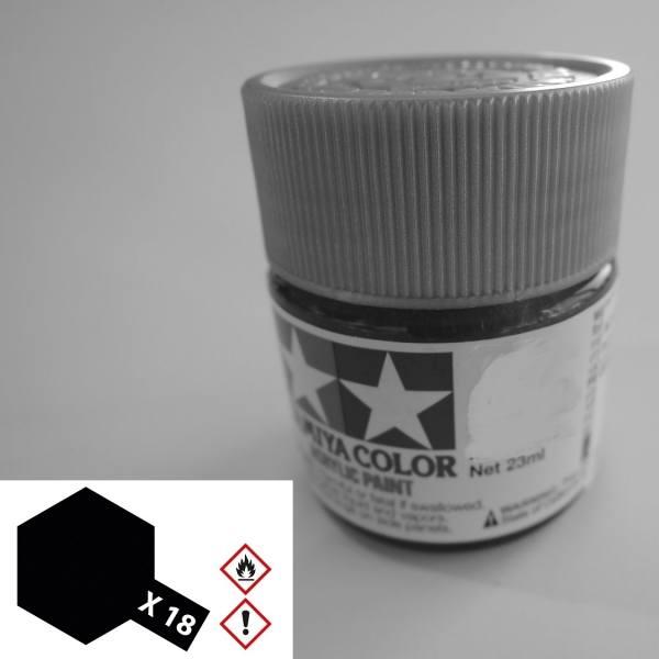 81018 - Tamiya - Acrylfarbe 23ml, schwarz seidenmatt X-18