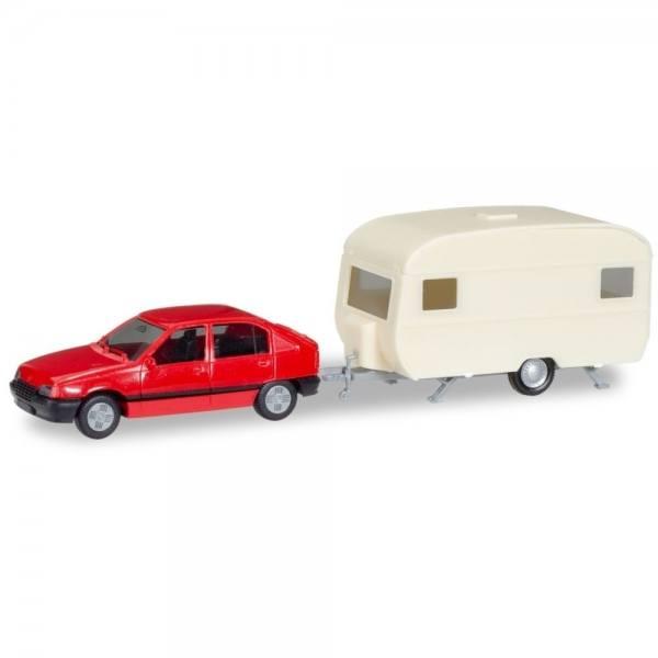 013420 - Herpa - MiniKit Opel Kadett E GLS mit Wohnanhänger