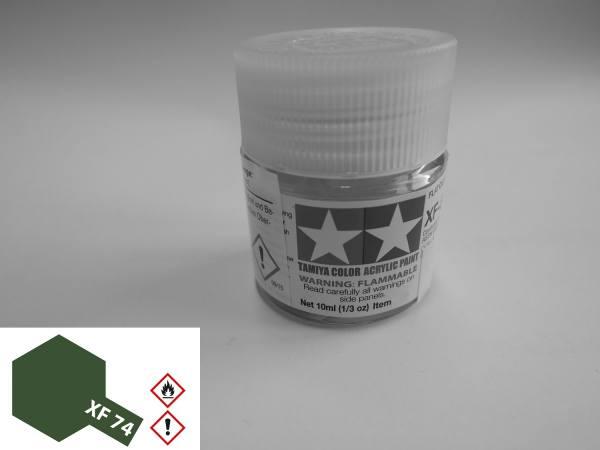 81774 - Tamiya - Acrylfarbe 10ml, braun oliv (olive drab) matt XF-74