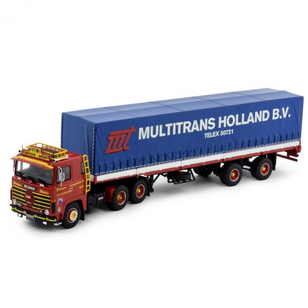 81886 - Tekno - Scania 140 mit 2achs klassischen Planen-Auflieger - Fonteijn - NL -