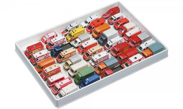 029278 - Herpa - Transporter-Sammelbox, weiß, für 39 Modelle, Abmessungen: 40cm x 28cm x 4,5cm