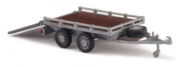 59954 - Busch - Transport-Anhänger mit Klappe, silber