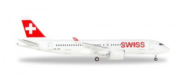 """558952 - Herpa - Swiss Internat.  Bombardier CS300  """"HB-JCB"""" - 1:200"""