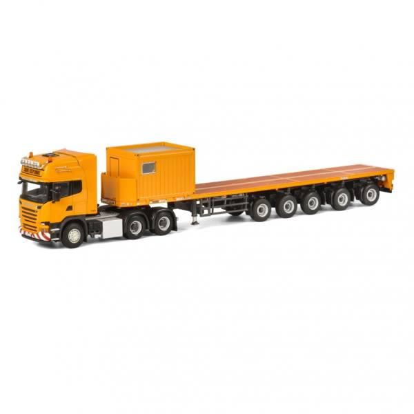 04-1180 - WSI - Scania R `13 TL mit 5achs Ballasttrailer + 10ft Container, gelb