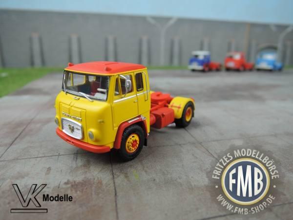 76013 - VK Modelle - Scania LB 7635 Zugmaschine, gelb-rot, lange Kabine mit Seitenfenster - 1:87