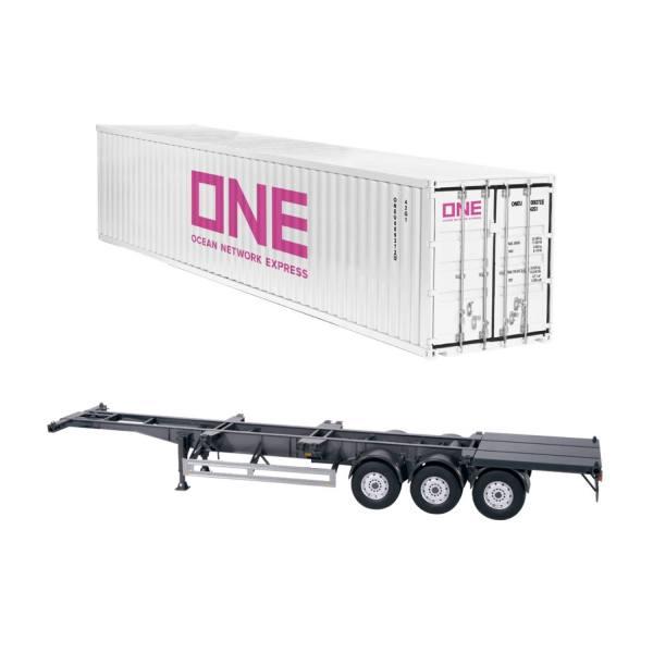 979/03 - NZG - 3achs Containerauflieger mit 40ft. Container - weiß - ONE - EU