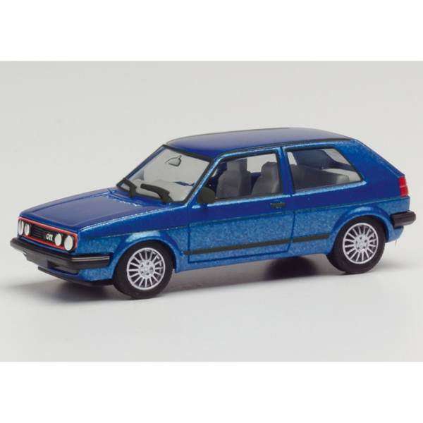 430838 - Herpa - Volkswagen VW Golf 2 / II GTI mit Sportfelgen - 2 türig, blau metallic