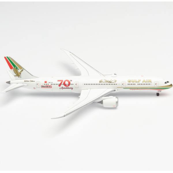 "534338 - Herpa Wings - Gulf Air Boeing 787-9 Dreamliner ""70 Jahre retro colors"""