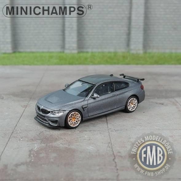 027100 - Minichamps - BMW M4 GTS (2016), mattgrau metallic mit orange/silbernen Felgen