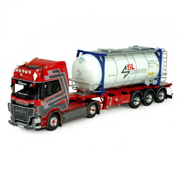 74875 - Tekno - Scania NGS R-serie HL mit 3achs Auflieger und Tankcontainer - SL Logistics - B -