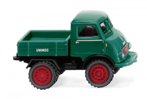 036803 - Wiking - Mercedes-Benz Unimog U401 mit Doppelbereifung, moosgrün/rot