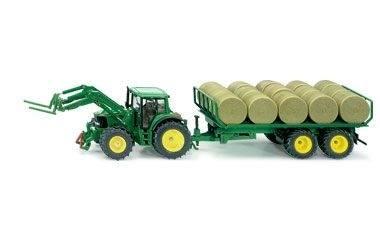 3862 - Siku - John Deere Frontlader-Traktor Rundballenanhänger
