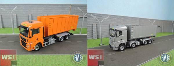 WSI-Set-MAN TGX XLX mit 40m³ Container+Actros MP4 Stream Space 8x4 mit 40m³ Container - Palfinger -