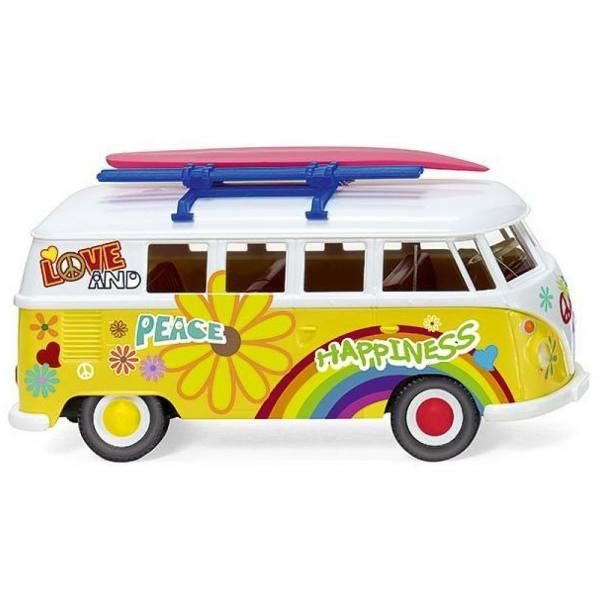 "079725 - Wiking - VW T1 Campingbus mit Surfbrett ""Flower-Power"""