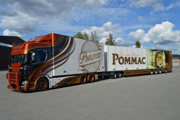 75115 - Tekno - Scania S-serie HL mit 6achs Kühlanhänger 17,5 mtr lang - Ristimaa Pommac - FIN -