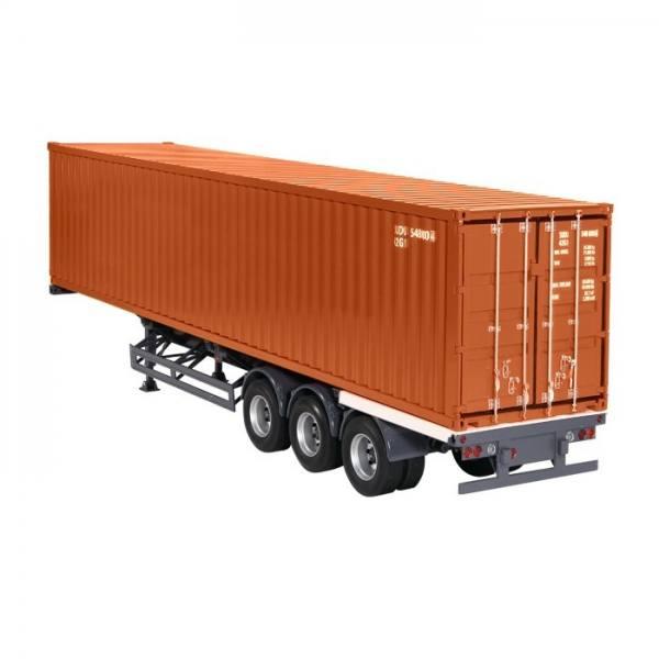 9791/70 - NZG - 3achs Containerauflieger mit 40ft. Container, braun - US /CHN