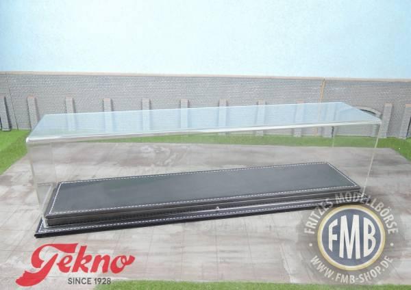 74867 - Tekno - Vitrine mit Standfläche in schwarzer Leder-Optik (Maße: 420x90x110mm)