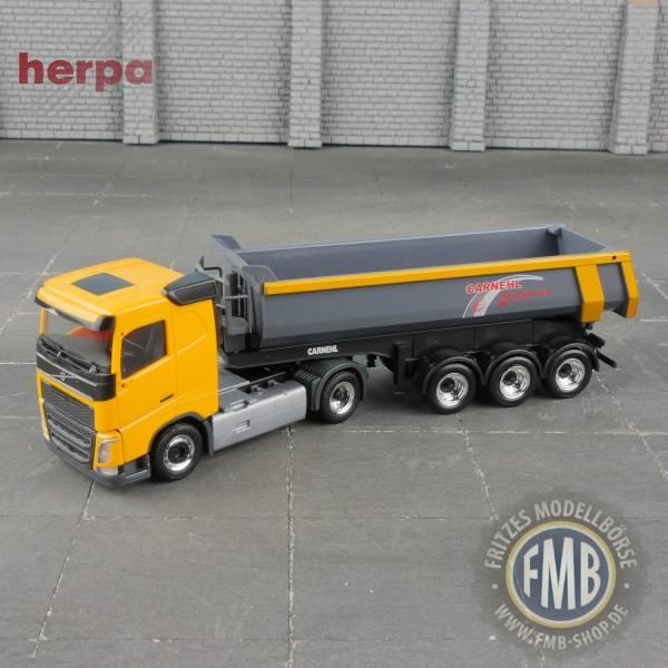 """936934 - Herpa - Volvo FH4 Carnehl Rundmulden-Kipp-Sattelzug """"Carnehl"""", gelb"""