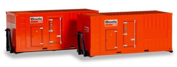 """076890- Herpa - Zubehör 20ft. Stromaggregat Abroll-Container """"Boels"""" - 2 Stück"""