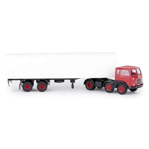 58500 - Brekina - Fiat 690 T Koffer-Sattelzug 3/2 Achsen, rot / weiß