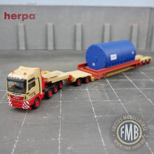 """944205 - Herpa - MAN TGX XXL Schwerlastzugmaschine mit 2/4achs Tieflader und Großtank """"Baumann"""""""