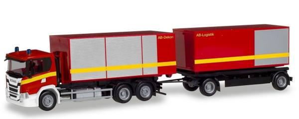 """310017 - Herpa - Scania CG 17 6x2 Wechsellader-Hängerzug mit Gerätecontainer """"Feuerwehr"""""""