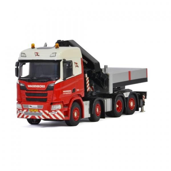 01-3222 - WSI - Scania CR 8x2 mit Palfingerkran PK92002SH + JIB und Pritsche - Wagenborg - NL -