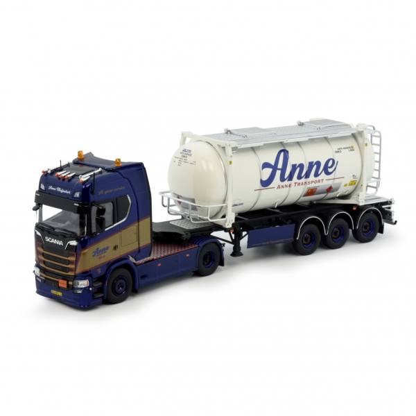 81391 - Tekno - Scania S 450 HL mit 3achs Container Chassi und Tank-Container - Anne Transport - NL
