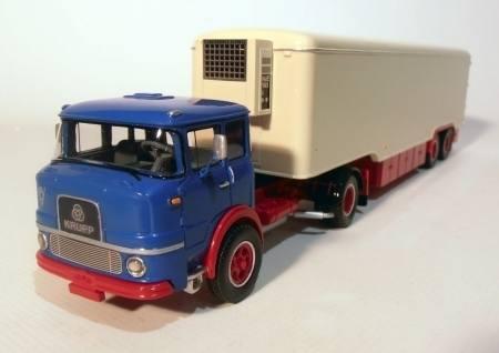 G0006661 - Krupp SF960 mit Kühlauflieger, blau / beige