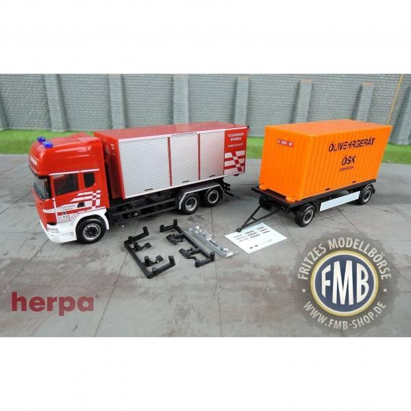 """932912 - Herpa - Scania R `13 Topline Hängerzug mit Abrollcontainern """"Feuerwehr Bremen"""""""