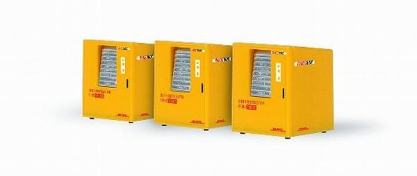 70218 - Rietze - DHL Paketbox , 3 Stück - Fertigmodell