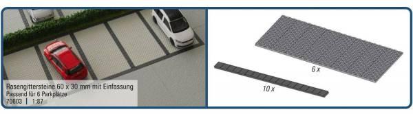 70603 - Rietze - Rasengittersteine 60 x 30 mm mit Einfassung - passend für 6 Parkplätze