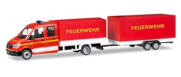 """093866 - Herpa - MAN TGE Doka mit Pritsche/Plane & Tandemanhänger """"Feuerwehr"""""""